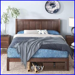 12 Pine Wood Rustic Country Platform Bed With Premium Headboard
