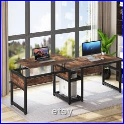 2 Person Computer Desk with Lift Top Extra Large 78.8 inch Extra Long Desk Height Adjustable Home Office Desk Industrial Rustic Brown 2021
