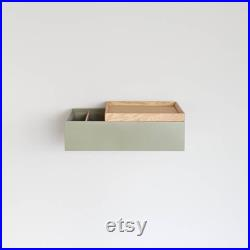 2 x narrow floating bedside table made of oak wood green bedside table for wall mounting floating bedside table floating nightstands