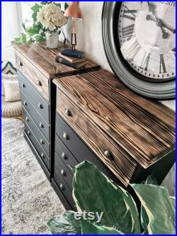 2x Large Black Solid Pine Chest Of Drawers industrial urban boho modern(Pair)