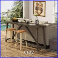 70.9 Inches Extra Long Sofa Table, Solid Wood Behind Couch Table, Rustic Console Table for Living Room and Entryway