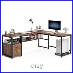 70 Inch Modern L-Shaped Desk with Bookcase and Cabinet, L Shapes Computer Desk