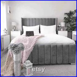 APOLLO Wingback Upholstered Bedframe 54inch Headboard Various Colours Fabrics