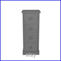 A Pair of Wooden Slim Tall Bedside Tables with 4 Drawer Bedroom Storage 3 colours End Table Cute Simple Retro Nightstand