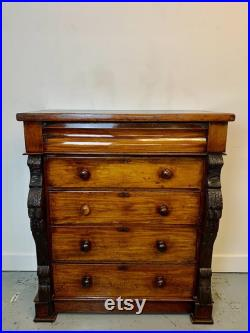 A Rare and Beautiful 170 Year Old Victorian Antique Chest Of Drawers. 1850 C
