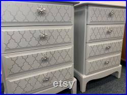 A pair of stunning STAG Minstrel bedside tables grey with silver bee knobs Moroccan style