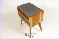 Abyslim Solid White Oak and Dark Concrete Top Mid-Century Nightstand