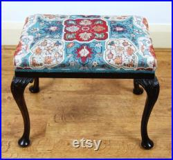 Antique upholstered Edwardian period Queen Anne Revival stool by Shoolbred and co