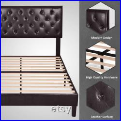 Art Deco Bed Frame Platform Bed Mattress Foundation Wood Slat Support Upholstered Button Tufted Diamond Stitch with Headboard, Brown
