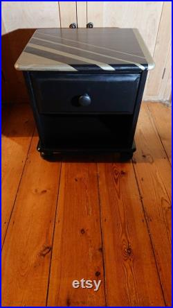 Art deco style black and gold bedside cabinet side table