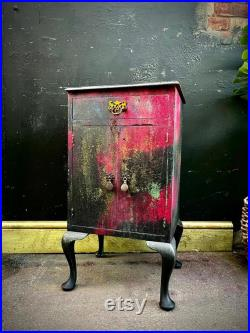 BEDSIDE CABINET BOHEMIAN painted pink black French Louis style cabriole legs stunning piece