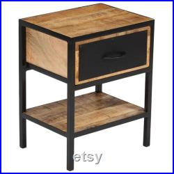 Bedside Cabinet side table lamp side table 40x30x50 cm Solid Sheesham Wood rustic industrial rough looking