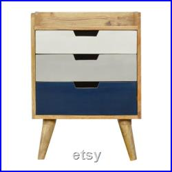 Bedside Table, 3 drawer Hand Painted Navy Gradient, Scandinavian Style, Blue Nightstand With Drawers