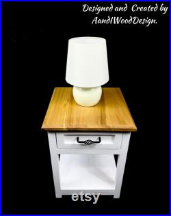 Bedside table, bedside cabinet , solid wood nightstand, lamp stand. Farmhouse bedside table.