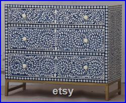 Bone Inlay 3 Drawers Chest with Metal Stand
