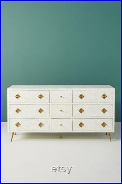 Bone Inlay Optical Design 9 Drawers Chest of Drawers White, Bone Inlay Optical Design 9 Drawers Dresser Table, Storage Unit