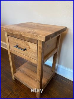 Chelsea Farmhouse Nightstand End Table with Drawer Rustic Nightstand End Table with Drawer- Bedroom Table