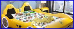 Children's bed boy with guardrail single bed cartoon solid wood multi function girl boy sports car bed