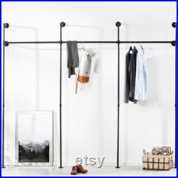 Clothes rack wardrobe pipes in industrial design made of black water pipes suitable for dressers