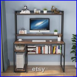 Computer Desk with Hutch and Shelves, 47 Inches Home Office Desk with Bookshelves and CPU Stand, Writing Desk