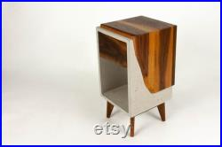 Concrete Box and Live Edge Wood Top Side Drawer Nightstand