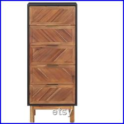 Contemporary Dresser, Living Room Tall Boy, Solid Wood Highboard, Tall Storage Furniture With 5 Drawers, Wooden Tall Sideboard