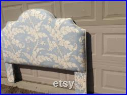 Custom Queen Size Upholstered Portman Blue Headboard with Welt and Legs