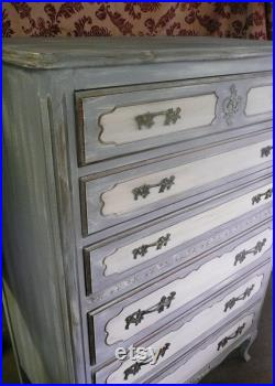Dresser HIGHBOY French Provincial Vintage Wood Serpentine Style Custom PAINT to ORDER Chest of Drawers Poppy Cottage Painted Furniture