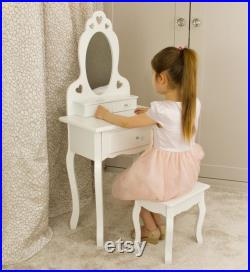 Dressing Table With Stool and Mirror 3 7 years White Wooden Makeup Vanity Table With 3 Drawers, Elegant Shape Design and Crystal Knobs