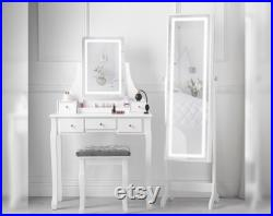 Dressing Table with Touch Screen LED Light Rectangle Mirror and Stoll Jewellery Storage Makeup Organizer White Set