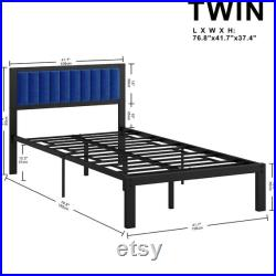 Durable Bed Frame with Upholstered Blue Headboard
