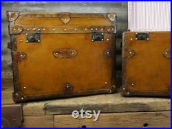 English Tan Leather Side Tables Night Stands