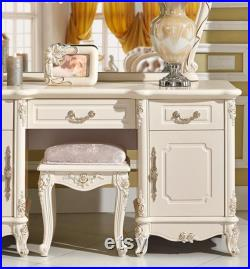 European dressing table bedroom princess dressing table with light white cabinet luxury carved web celebrity makeup table small family