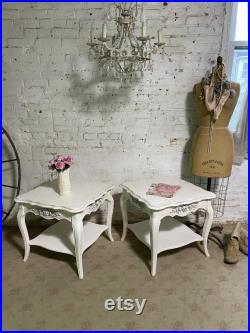 Farmhouse Table Painted Cottage Prairie Chic French Provincial End Tables TBL300