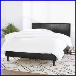 Faux Leather Upholstered Platform Bed Frame with Wooden Slats, Queen