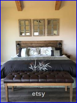 Floating Hanging Headboard with Lamps