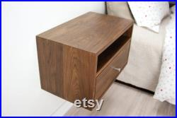 Floating Nightstand with Drawer and Open Shelf Solid Walnut Wood Hanging Bedside Table Scandinavian Mid-century Modern Minimalist