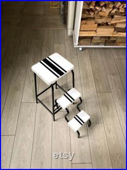Folding step stool adult. White step ladder. Library step chair. Plant Stand. Rustic stool. French farmhouse.