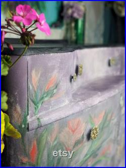 Forgotten Pages Dresser Night Stand Vanity Bedroom Furniture Hand Painted Vintage Furniture Upcycled Purple Florals