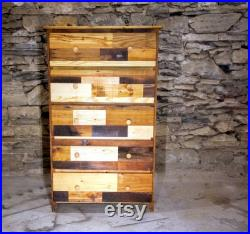Free Shipping, Patchwork Dresser, Reclaimed Wood Dresser, Tallboy Dresser, Solid Wood Dresser, Bedroom Furniture, Patchwork Furniture