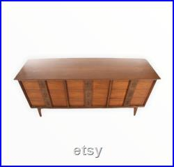 Free and Insured Shipping within US Vintage Mid Century Modern Triple Nine Drawer Dresser