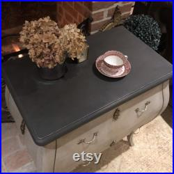 French Gustavian Country Chic Grey Hand Painted Bombe Chest of Drawers Black Top