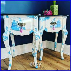 French style bedside side tables hand painted in chinoiserie style