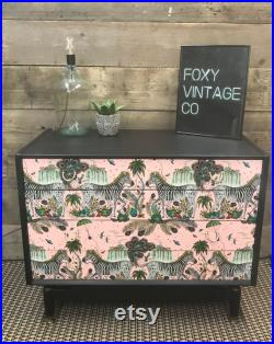 G plan chest of drawers Upcycled with Emma Shipley lost world pink print Mid century MCM Vintage