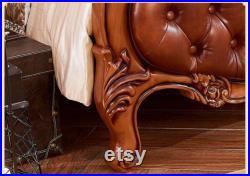 Genuine Leather Bed Solid Wood Carving Master Bedroom Double Solid Wood 1.5m 1.8 m 2m Luxury Bed