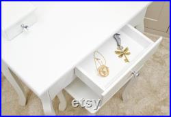Girls Dressing Table With Stool and Mirror, Children s Vanity Table Ideal for Girls 8-13 Years Elegant Shape Design and Crystal Knobs
