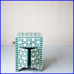 Green Floral Inlay Bedside Cabinet Storage Drawer
