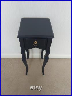 Hand Painted Bedside Table. Midnight Blue side table. Fusion Mineral Paint Upcycled table. Side table. Entrance Table