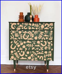 Hand Painted Olive Green and Blush Mid Century Chest of Drawers