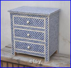 Handmade Bone Inlay Wooden Modern Fish Scale Pattern Bedside Sidetable Nightstand with 3 Drawer Furniture